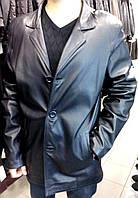 Кожаный пиджак удлиненный (большие размеры)