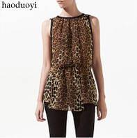 Рубашка без рукавов леопардовая