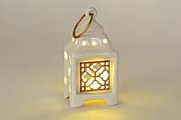 Декоративный фонарь с подсветкой, фарфор 16 см
