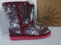 Угг Ugg, оригинал, угги бордового серебряного марсала цвета в пайетках, оригинал, бордовый цвет, серебро