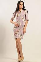 Замшевое платье прямого кроя застежка молния на груди 42-52 размер
