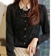 Блузка с длинным рукавом черная