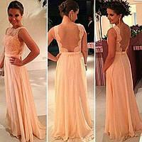 Платье коктельное нежно розовое длинное вечернее выпускной открытая спинка
