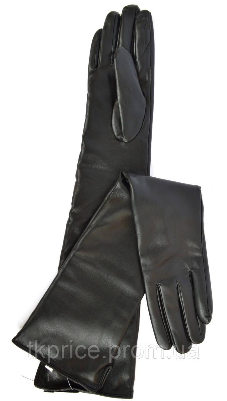 Длинные женские перчатки из экокожи с сенсорными пальчиками, длина перчаток около 47 см