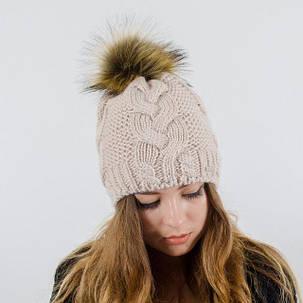 """Вязаная женская шапка """"Polli"""" с меховым помпоном, фото 2"""