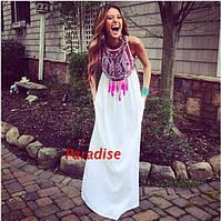 Платье белое длинное шифоновое