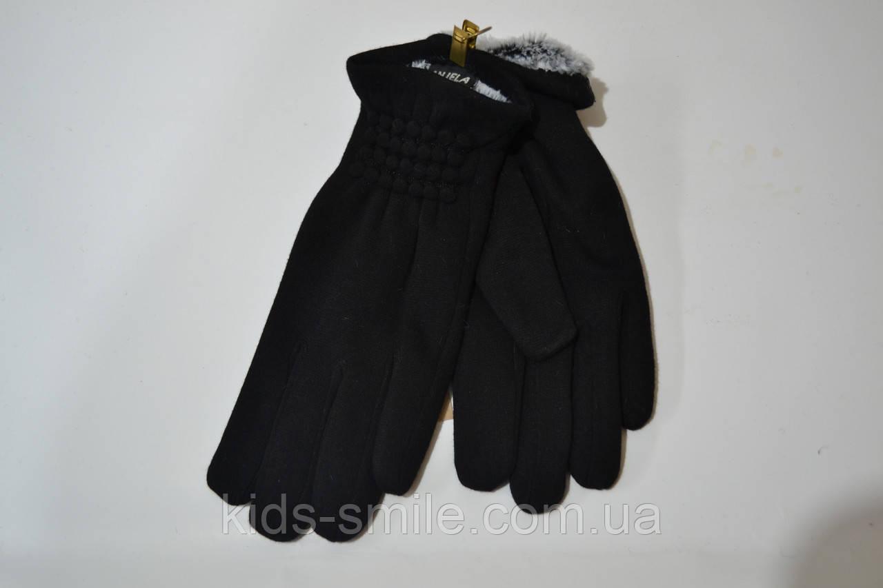 Женские перчатки трикотаж на меху