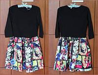 Платье с черным верхом с длинным рукавом и юбкой с принтом в стиле Монро