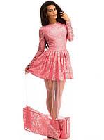 Розовое гипюровое платье с фатиновой полупрозрачной юбкой