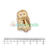 Пуговица деревянная СОВА, 19х29 мм, 1 шт