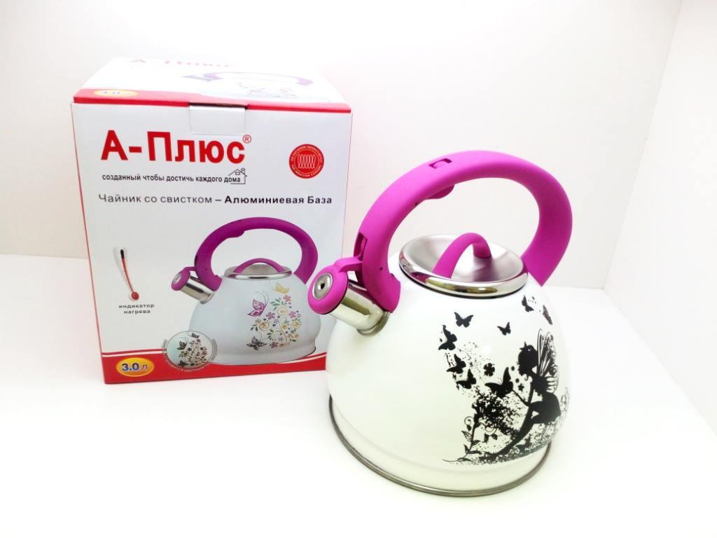 Металлический чайник для плиты со свистком, с двойным дном 3л. (А-Плюс WК-1389), девочка с крыльями