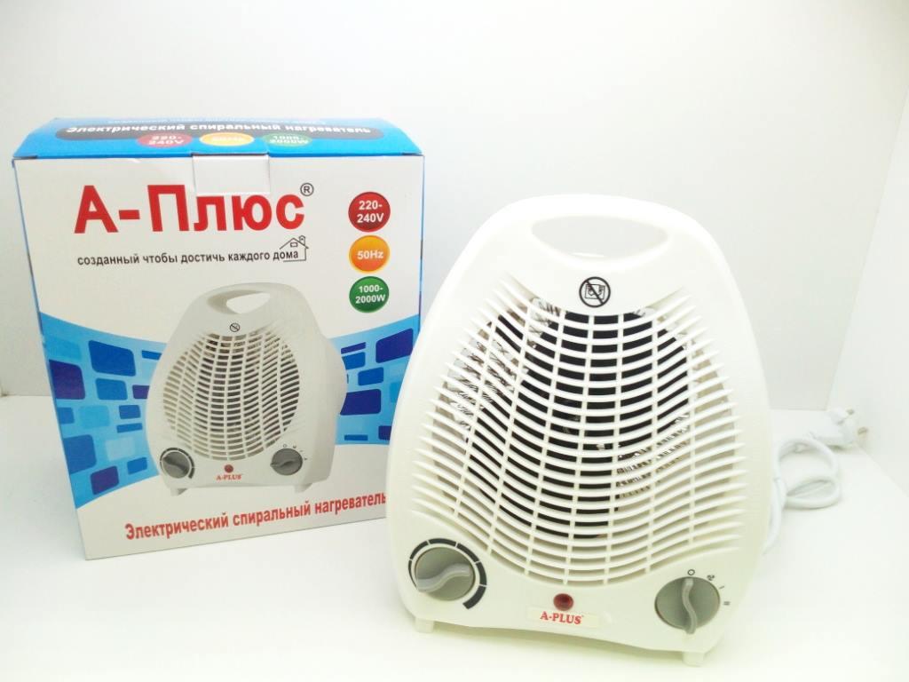 Тепловентилятор А-Плюс 2124, максимальная мощность 2 кВт, быстрый нагрев, термостат