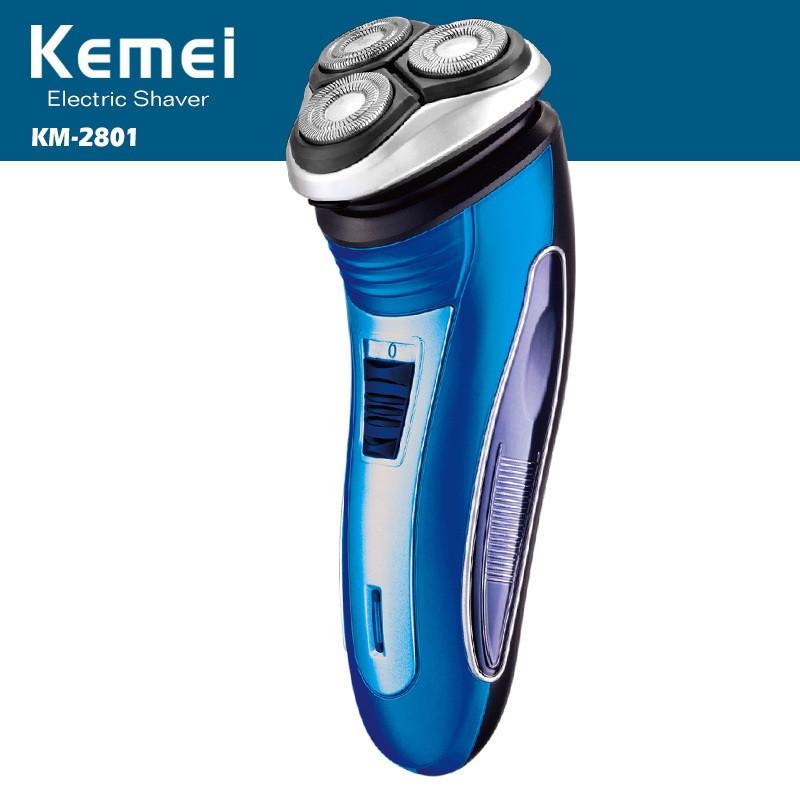 Электробритва Kemei KM2801, низкий уровень шума, нержавеющие лезвия, триммер для висков и бороды,чистое бритье