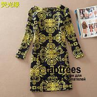 Платье Gucci теплое короткое черное с желтыми принтами с длинным рукавом