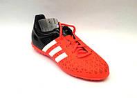 Кроссовки подростковые Adidas футбольные для зала спортматериал красные 0068АДМ