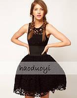 Платье DIOR коктельное черное кружевное с объемной юбкой-колоколом без рукавов