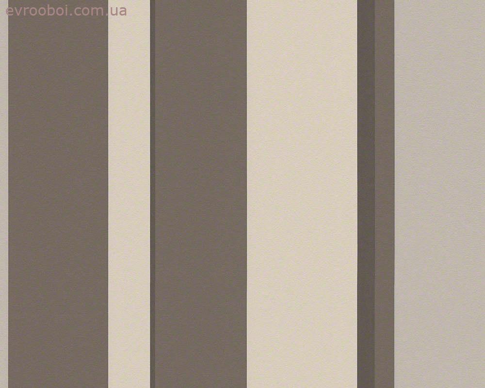 Моющиеся немецкие обои 940183, виниловые, с широкими коричневыми и шоколадными полосами на бежевом фоне
