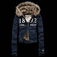 Куртка теплая осення кофта с капюшоном Abercrombie синяя