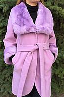 Кашемировое пальто с мехом рекса нежно розовый, фото 1