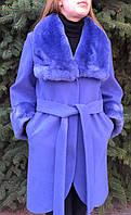 Кашемировое пальто с мехом рекса небесно-синий, фото 1