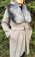 Кашемировое пальто с мехом чернобурки