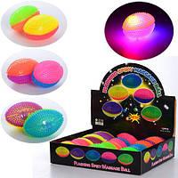 Мяч массажный MS 1151 (144шт) пищалка,светящийся,11см,на бат(таб),12шт(6цв) в дисплее,33-28-7,5см