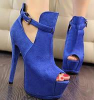 Босоножки синие замшевые на платформе на толстом каблуке