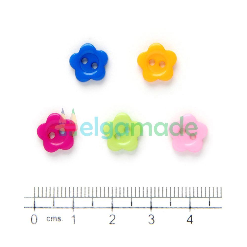 Пуговицы пластиковые ЦВЕТОЧКИ МАЛЕНЬКИЕ, 10 мм, 5 шт, микс