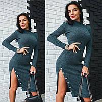 """Платье стильное с разрезом миди """"Руслана"""" трикотаж люрекс 4 цвета SMdi1822"""