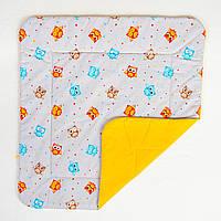 Детское хлопковое одеяло BabySoon Забавные совы на оранжевом 80 х 85 см (285), фото 1