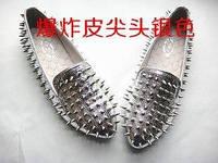 Балетки STEVE MADDEN серебристые с шипами 39 размер 25 см по стельке