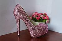 Туфли  CHRISTIAN LOUBOUTIN малиновые розовые с блестками