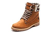 Ботинки Timberland, высокие, унисекс, рыжие, нубук, на меху, р. 36 37 39