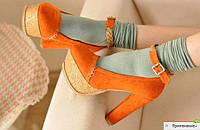 Туфли оранжевые на платформе на толстом каблуке яркие деревянная подошва