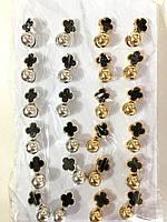 Серьги гвоздики крестик с шариком ( 12 пар)