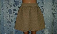 Детская бежевая юбка со складками и на резинке