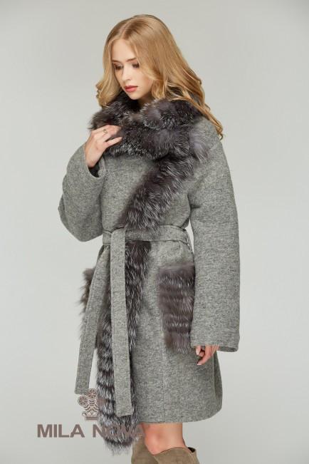 Пальто женское с мехом чернобурки ТМ Mila Nova (разные цвета)
