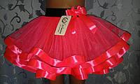 Детская юбка на резинке, ярко-розовая