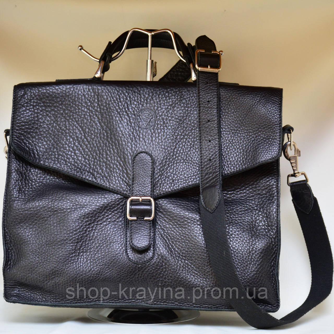 Кожаная сумка VS115 black 35х30х12 см