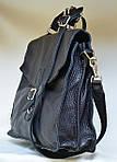 Кожаная сумка VS115 black 35х30х12 см, фото 3