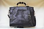 Кожаная сумка VS115 black 35х30х12 см, фото 2