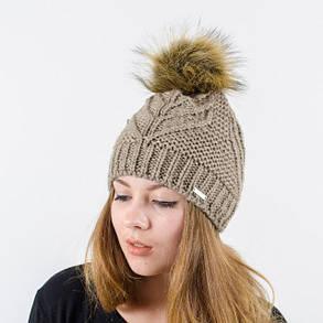"""Вязаная женская шапка """"Mila"""" с меховым помпоном, фото 2"""