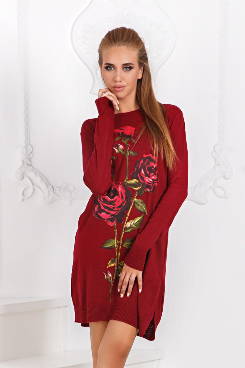 Д52 Платье вязанное роза