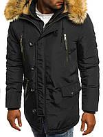 Мужская зимняя парка черная с капюшоном