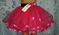 Детская юбка на резинке, малиновая