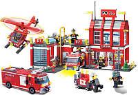 Конструктор Brick-911 Пожарная часть и техника 980 деталей, фото 1