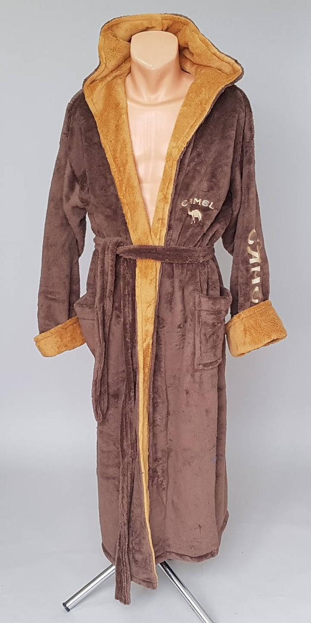 Махровый мужской халат с капюшоном