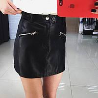 Молодежная, женская, кожаная юбка-шорты (экокожа) Фабричный Китай
