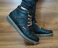 Мужские Зимние Кожаные ботинки Levis 115 black Польша