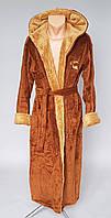 Махровый мужской халат длинный с капюшоном
